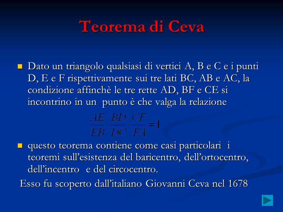 Teorema di Ceva Dato un triangolo qualsiasi di vertici A, B e C e i punti D, E e F rispettivamente sui tre lati BC, AB e AC, la condizione affinchè le