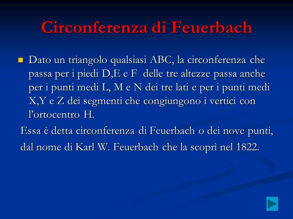 Circonferenza di Feuerbach Dato un triangolo qualsiasi ABC, la circonferenza che passa per i piedi D,E e F delle tre altezze passa anche per i punti m