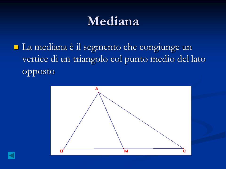 Mediana La mediana è il segmento che congiunge un vertice di un triangolo col punto medio del lato opposto La mediana è il segmento che congiunge un v