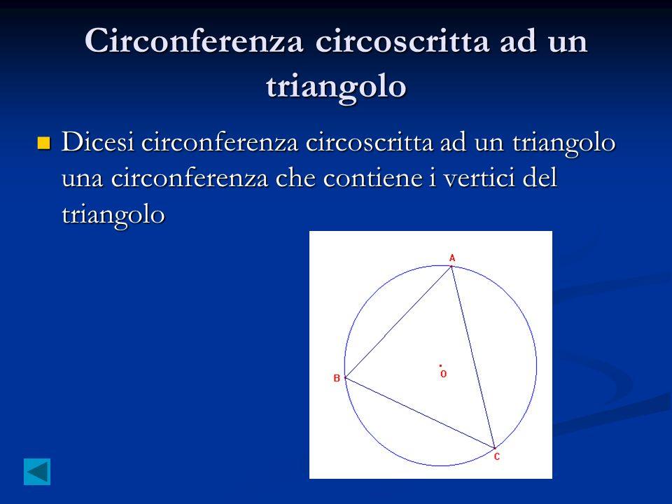 Circonferenza circoscritta ad un triangolo Dicesi circonferenza circoscritta ad un triangolo una circonferenza che contiene i vertici del triangolo Di