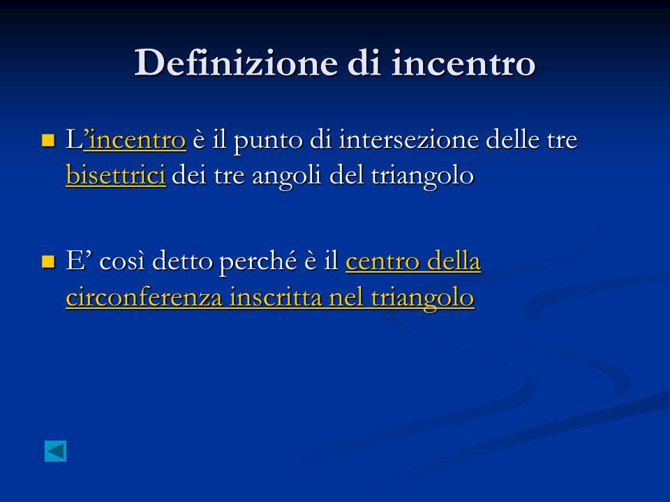 Definizione di incentro Lincentro è il punto di intersezione delle tre bisettrici dei tre angoli del triangolo Lincentro è il punto di intersezione de
