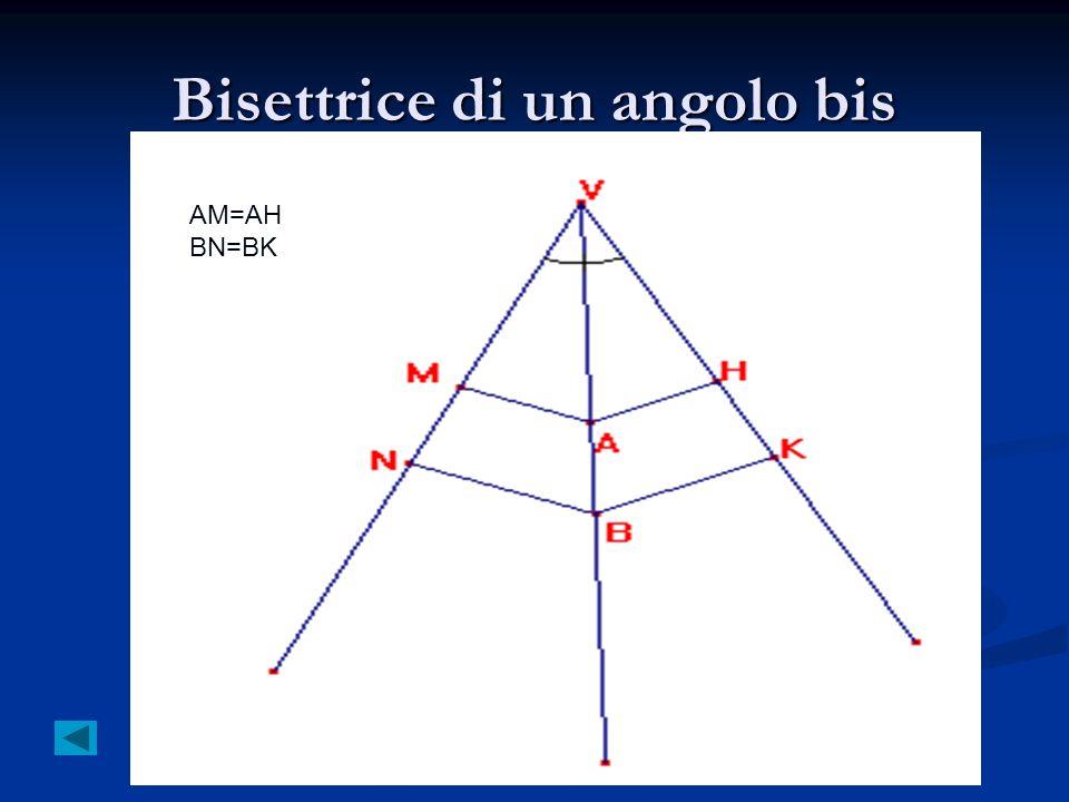 Bisettrice di un angolo bis AM=AH BN=BK