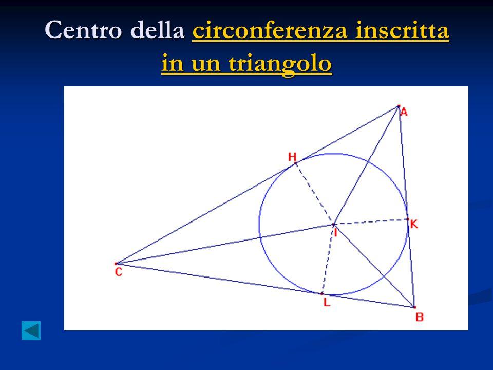 Centro della circonferenza inscritta in un triangolo circonferenza inscritta in un triangolocirconferenza inscritta in un triangolo