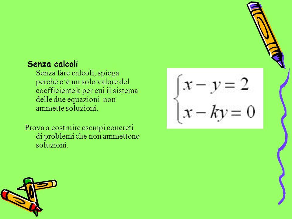 Senza calcoli Senza fare calcoli, spiega perché cè un solo valore del coefficiente k per cui il sistema delle due equazioni non ammette soluzioni.