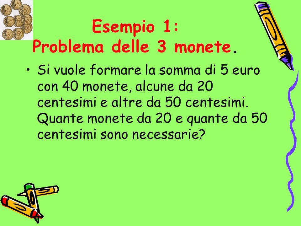 Dati: monete da 20 e 50 centesimi e complessivamente devono essere 40 Obiettivo: trovare il numero di monete da 20 centesimi e il numero di monete da 50 centesimi, che complessivamente diano luogo a 5 euro.