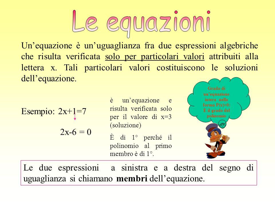 Unequazione è unuguaglianza fra due espressioni algebriche che risulta verificata solo per particolari valori attribuiti alla lettera x. Tali particol