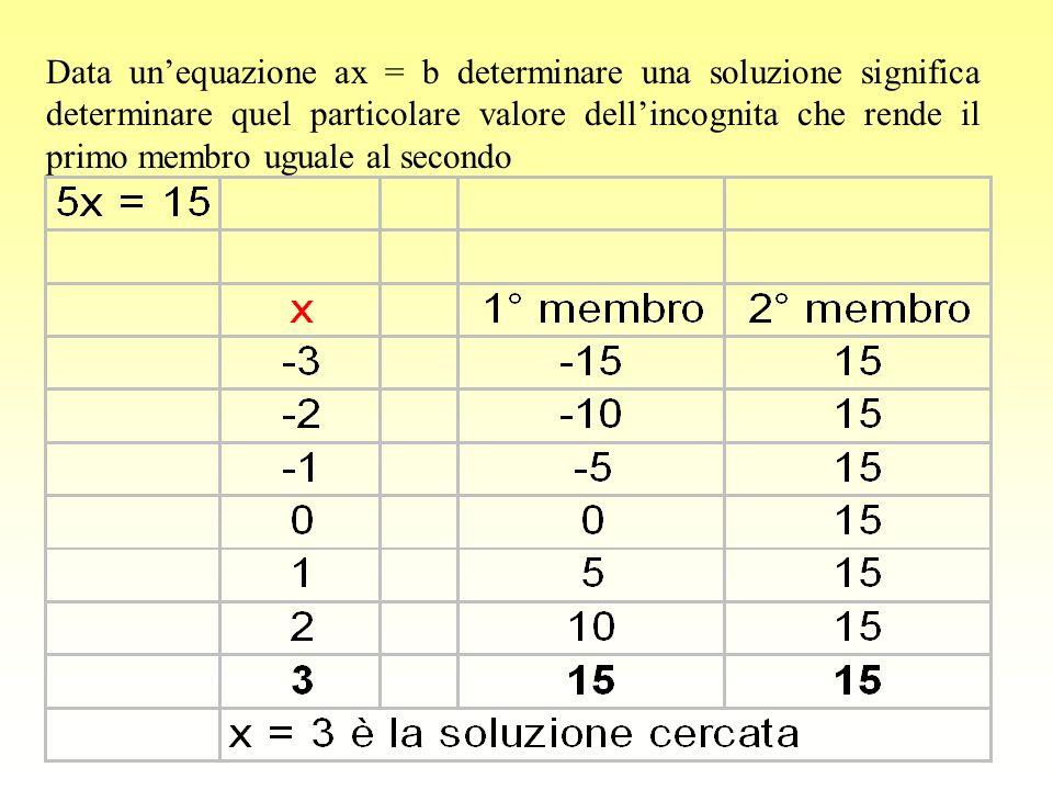 Data unequazione ax = b determinare una soluzione significa determinare quel particolare valore dellincognita che rende il primo membro uguale al seco