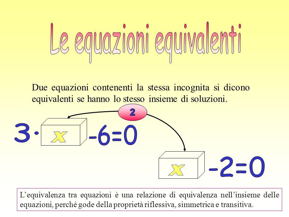 Due equazioni contenenti la stessa incognita si dicono equivalenti se hanno lo stesso insieme di soluzioni. Lequivalenza tra equazioni è una relazione