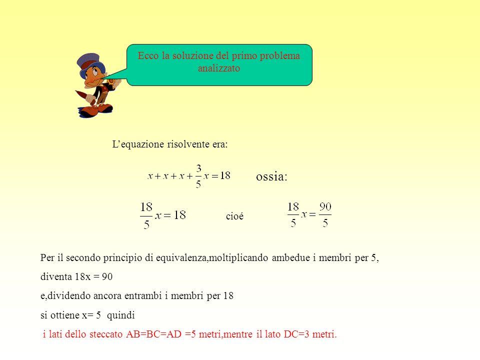 Ecco la soluzione del primo problema analizzato Lequazione risolvente era: ossia: cioé Per il secondo principio di equivalenza,moltiplicando ambedue i