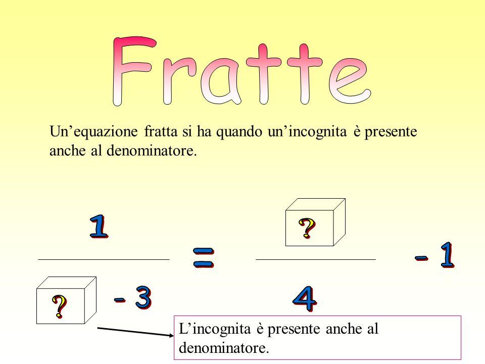 Unequazione fratta si ha quando unincognita è presente anche al denominatore. Lincognita è presente anche al denominatore.