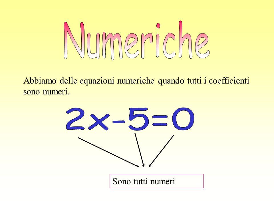 Abbiamo delle equazioni numeriche quando tutti i coefficienti sono numeri. Sono tutti numeri