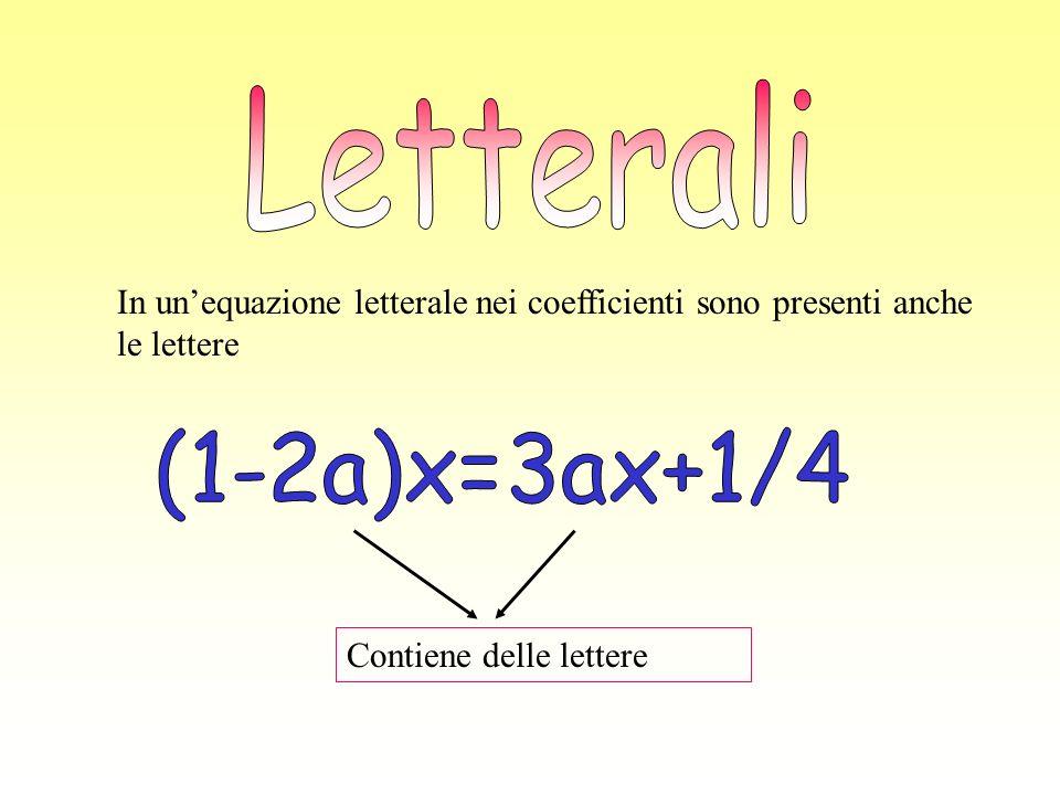 In unequazione letterale nei coefficienti sono presenti anche le lettere Contiene delle lettere