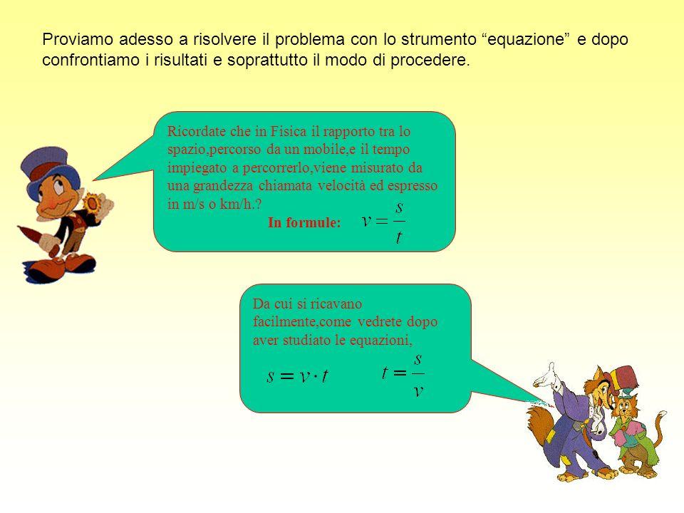 Ecco la soluzione del primo problema analizzato Lequazione risolvente era: ossia: cioé Per il secondo principio di equivalenza,moltiplicando ambedue i membri per 5, diventa 18x = 90 e,dividendo ancora entrambi i membri per 18 si ottiene x= 5 quindi i lati dello steccato AB=BC=AD =5 metri,mentre il lato DC=3 metri.