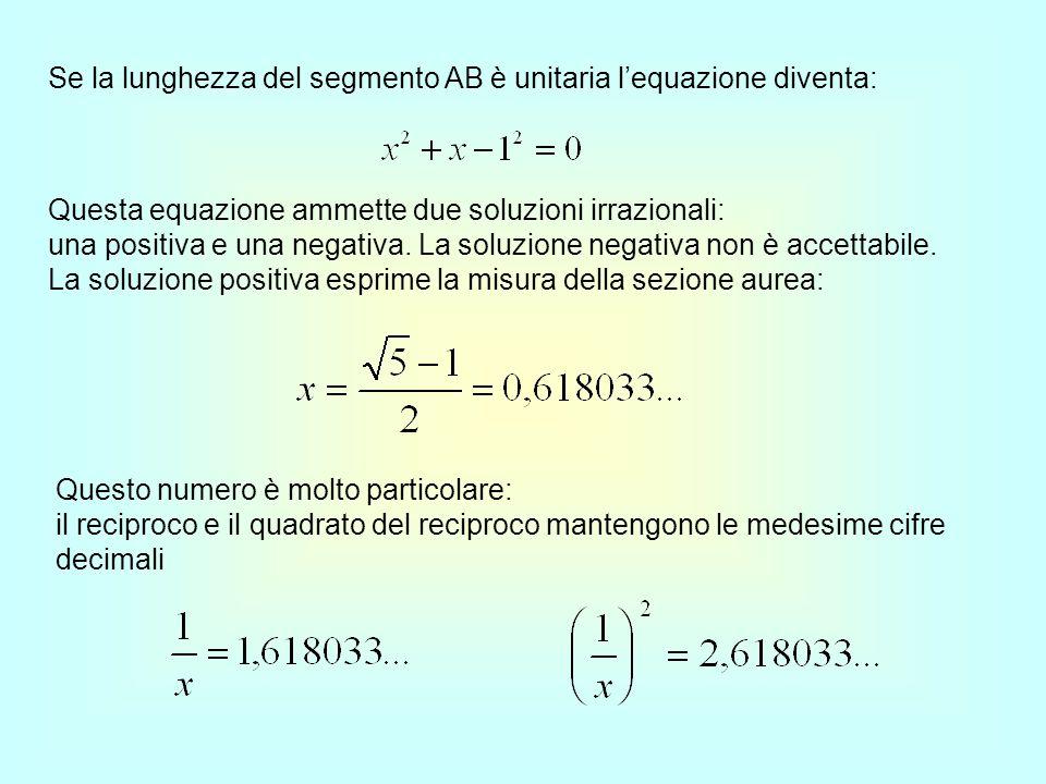 Se la lunghezza del segmento AB è unitaria lequazione diventa: Questa equazione ammette due soluzioni irrazionali: una positiva e una negativa. La sol