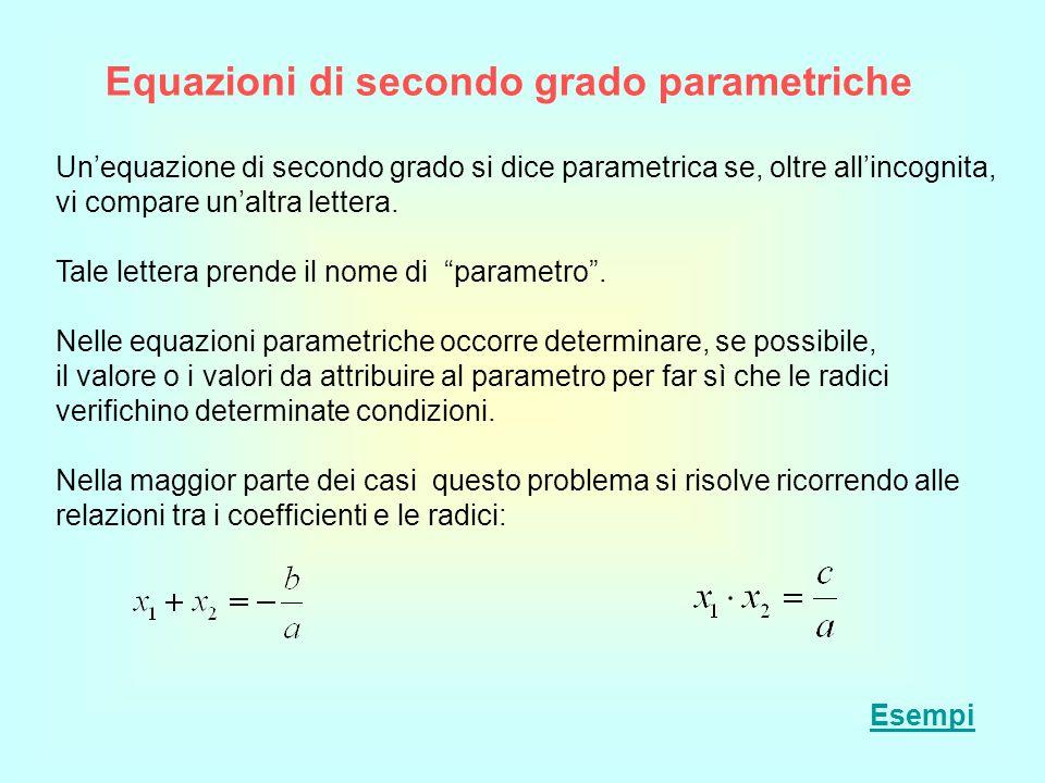 Equazioni di secondo grado parametriche Unequazione di secondo grado si dice parametrica se, oltre allincognita, vi compare unaltra lettera. Tale lett