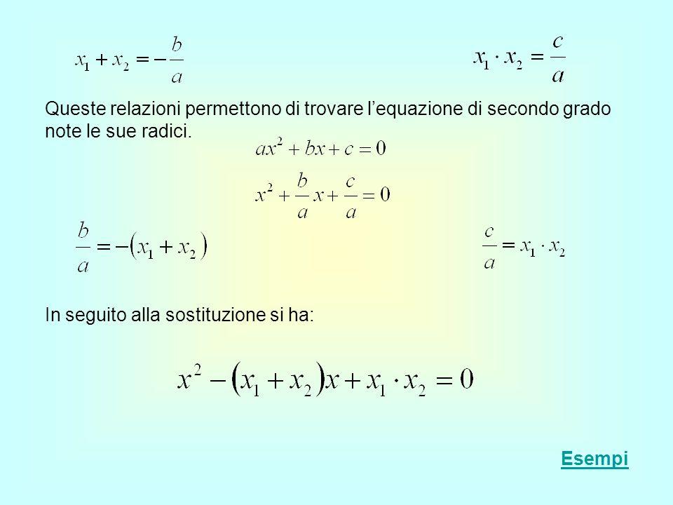 Le relazioni tra i coefficienti e le radici di unequazione consentono di scomporre facilmente un trinomio di secondo grado Per scomporre un trinomio di secondo grado è sufficiente uguagliare a zero il trinomio, risolvere lequazione e, se le radici sono reali, sostituire i numeri giusti nella seguente formula: Esempi