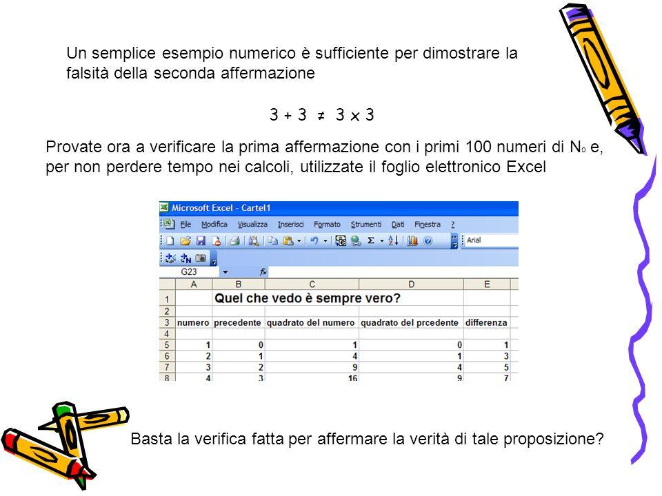 3 + 3 3 x 3 Un semplice esempio numerico è sufficiente per dimostrare la falsità della seconda affermazione Provate ora a verificare la prima affermaz