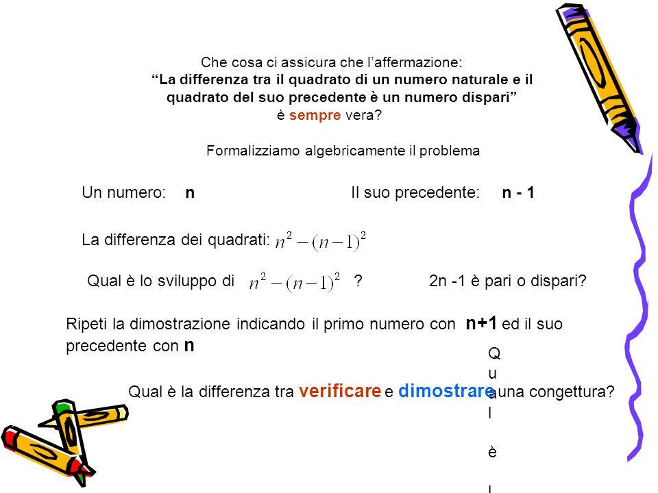Che cosa ci assicura che laffermazione: La differenza tra il quadrato di un numero naturale e il quadrato del suo precedente è un numero dispari è sem