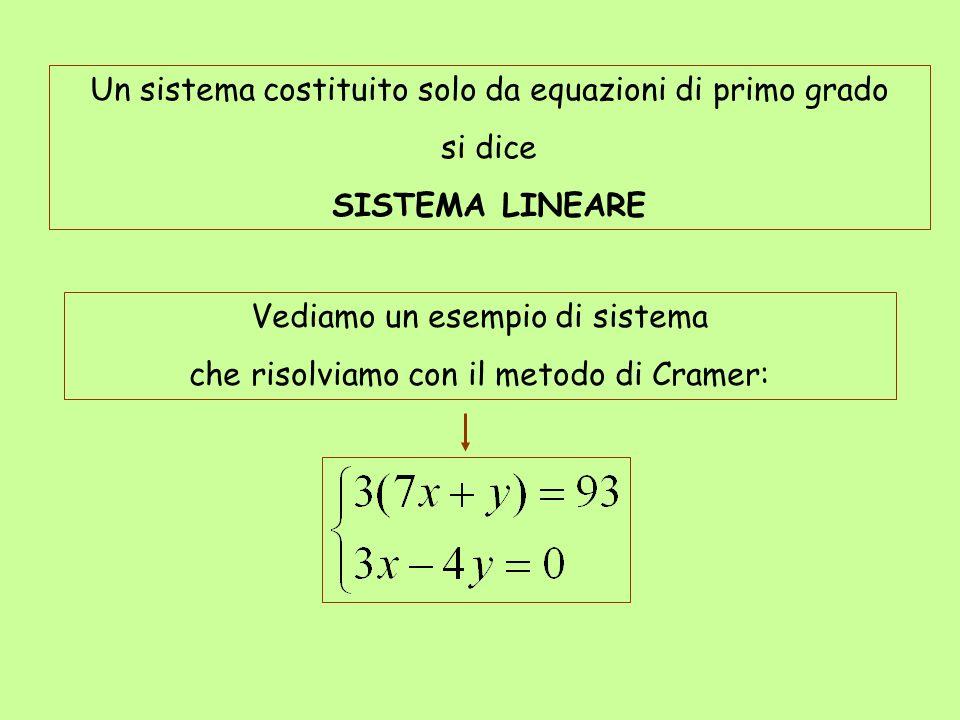 Un sistema costituito solo da equazioni di primo grado si dice SISTEMA LINEARE Vediamo un esempio di sistema che risolviamo con il metodo di Cramer: