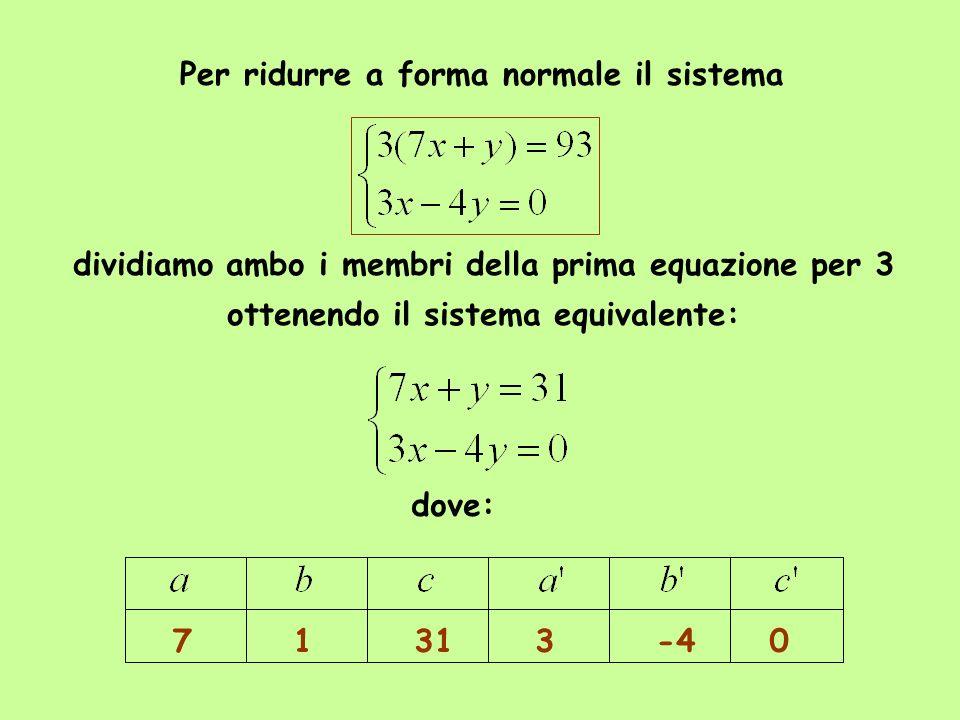 Per ridurre a forma normale il sistema dividiamo ambo i membri della prima equazione per 3 ottenendo il sistema equivalente: dove: 71313-40