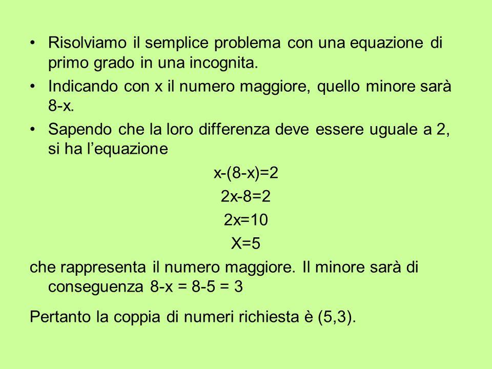 Consideriamo, ora, un altro problema: trovare due numeri tali che del primo è uguale ai del secondo e che la differenza tra i del secondo e i del primo sia uguale a 9 Gli alunni non riescono a risolverlo con unequazione ad una incognita e saranno essi stessi a suggerire di introdurre due incognite.