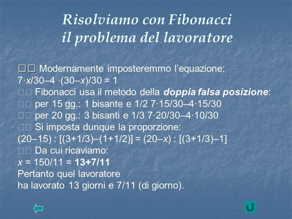 Risolviamo con Fibonacci il problema del lavoratore Modernamente imposteremmo lequazione: 7·x/30–4 ·(30–x)/30 = 1 Fibonacci usa il metodo della doppia