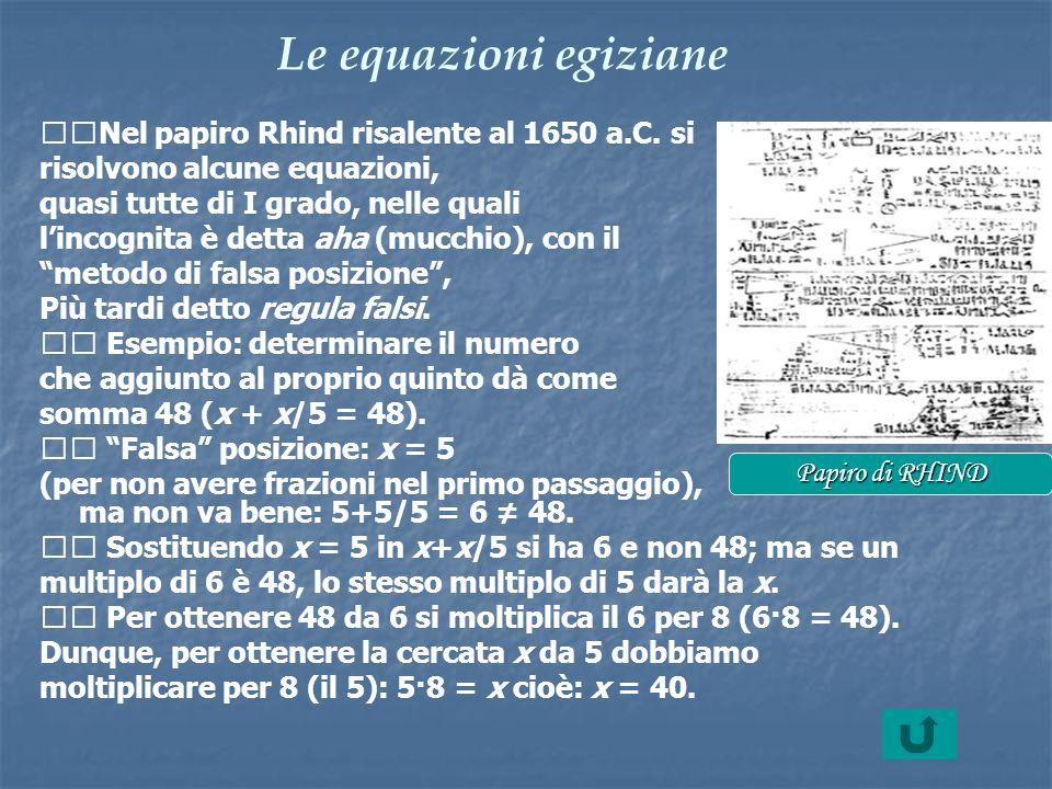 Le equazioni egiziane Nel papiro Rhind risalente al 1650 a.C. si risolvono alcune equazioni, quasi tutte di I grado, nelle quali lincognita è detta ah