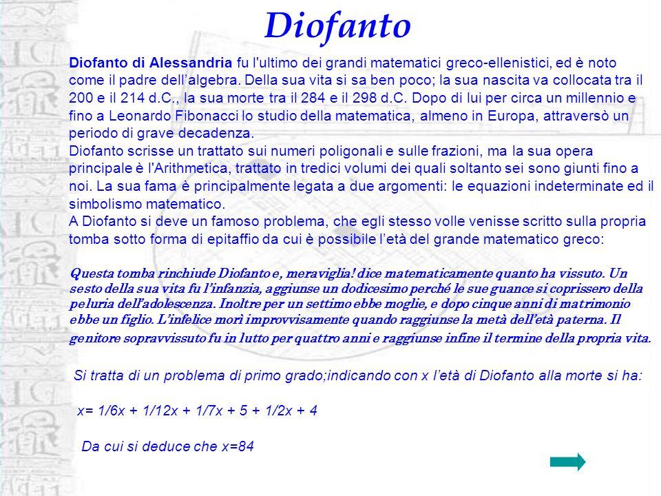 Diofanto Diofanto di Alessandria fu l'ultimo dei grandi matematici greco-ellenistici, ed è noto come il padre dellalgebra. Della sua vita si sa ben po