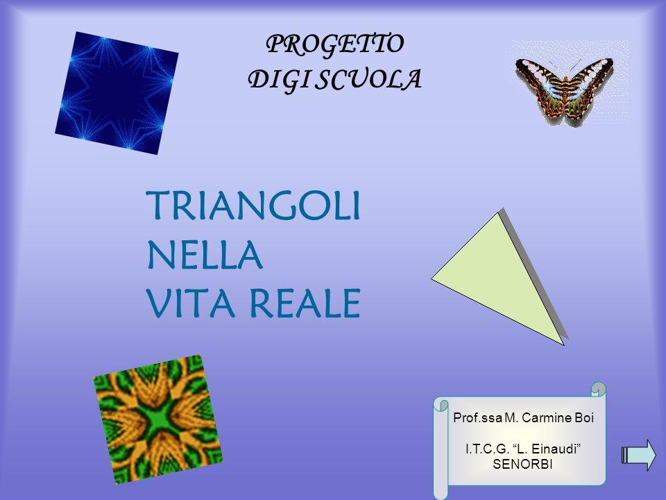 PROGETTO DIGI SCUOLA TRIANGOLI NELLA VITA REALE Prof.ssa M. Carmine Boi I.T.C.G. L. Einaudi SENORBI