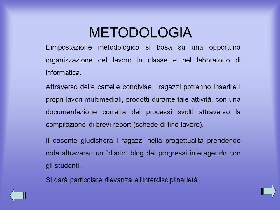 METODOLOGIA Limpostazione metodologica si basa su una opportuna organizzazione del lavoro in classe e nel laboratorio di informatica. Attraverso delle