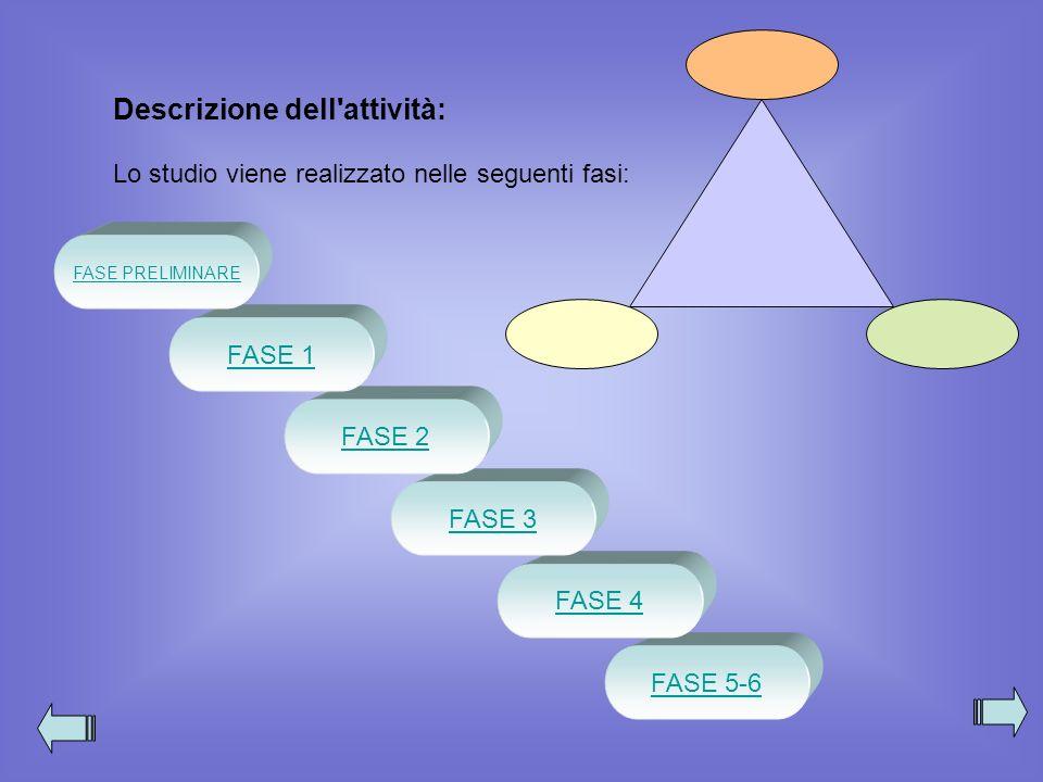 FASE 5-6 FASE 4 FASE 3 FASE 2 Descrizione dell'attività: Lo studio viene realizzato nelle seguenti fasi: FASE 1 FASE PRELIMINARE