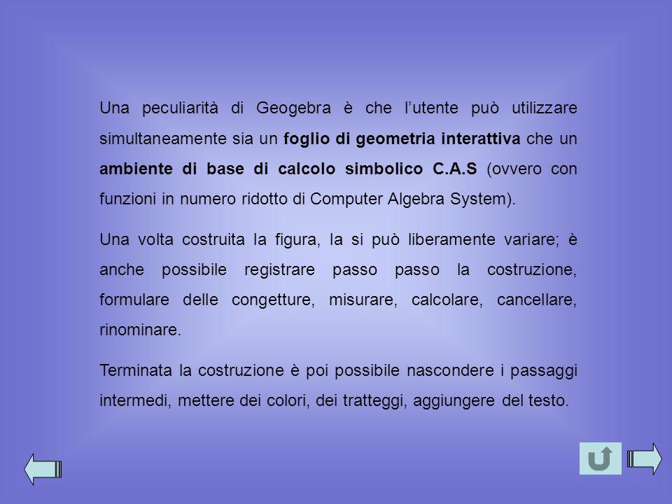 Una peculiarità di Geogebra è che lutente può utilizzare simultaneamente sia un foglio di geometria interattiva che un ambiente di base di calcolo sim