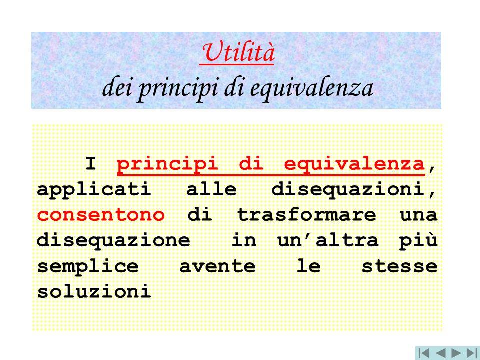 Utilità dei principi di equivalenza I principi di equivalenza, applicati alle disequazioni, consentono di trasformare una disequazione in unaltra più