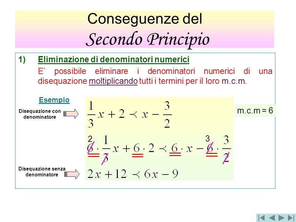 1)Eliminazione di denominatori numerici E possibile eliminare i denominatori numerici di una disequazione moltiplicando tutti i termini per il loro m.