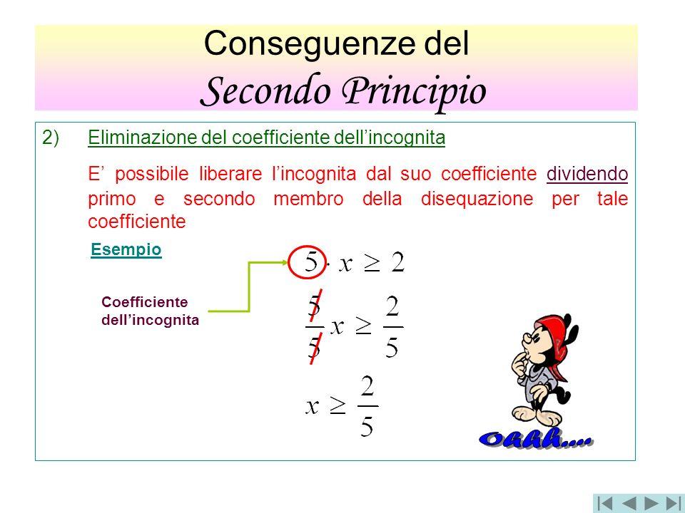 Conseguenze del SECONDO PRINCIPIO 2)Eliminazione del coefficiente dellincognita E possibile liberare lincognita dal suo coefficiente dividendo primo e