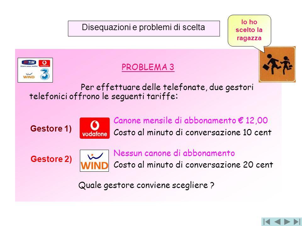 PROBLEMA 3 Per effettuare delle telefonate, due gestori telefonici offrono le seguenti tariffe : Canone mensile di abbonamento 12,00 Costo al minuto d