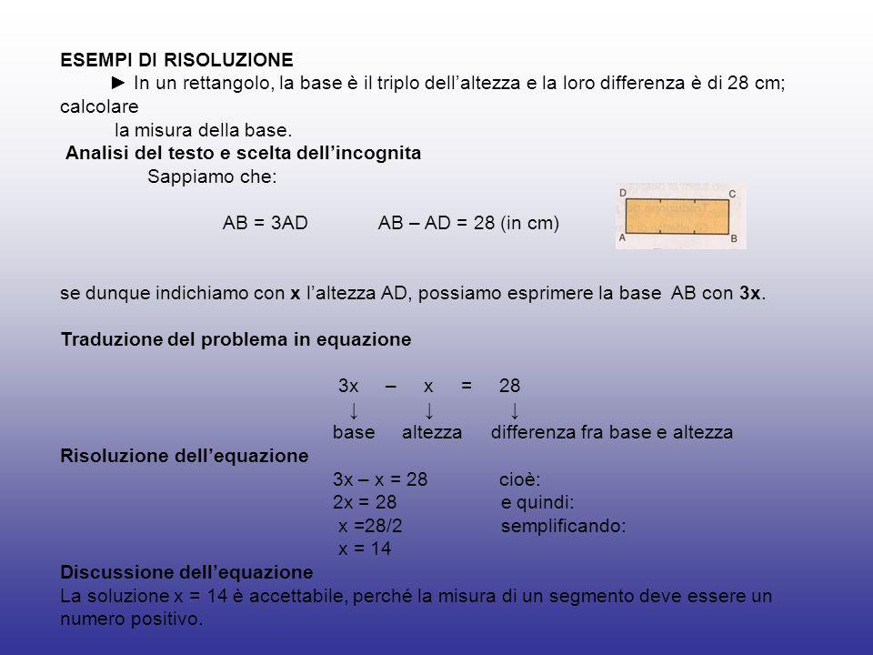 ESEMPI DI RISOLUZIONE In un rettangolo, la base è il triplo dellaltezza e la loro differenza è di 28 cm; calcolare la misura della base. Analisi del t