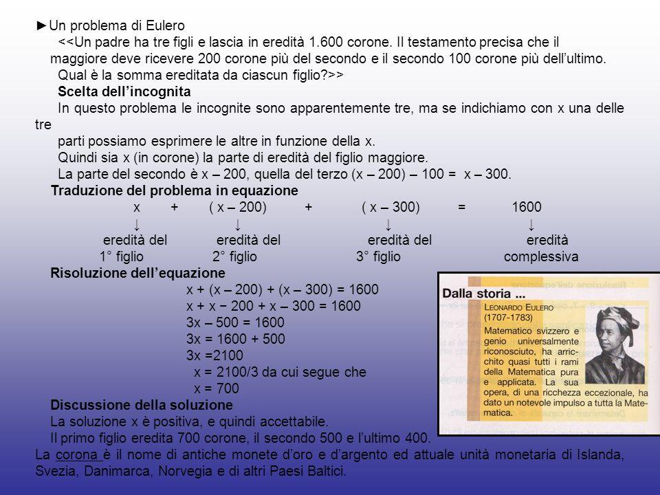 Un problema di Eulero <<Un padre ha tre figli e lascia in eredità 1.600 corone. Il testamento precisa che il maggiore deve ricevere 200 corone più del