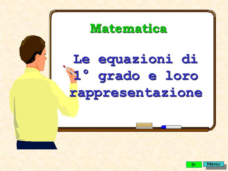 Matematica Le equazioni di 1° grado e loro rappresentazione Menu
