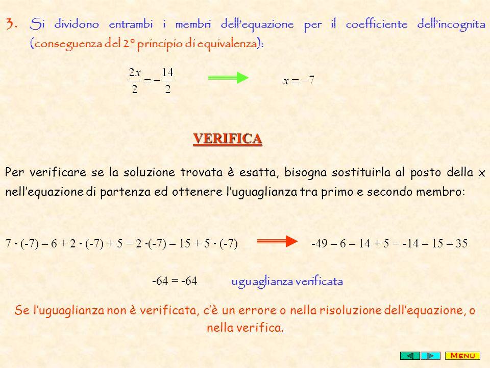 3. Si dividono entrambi i membri dellequazione per il coefficiente dellincognita (conseguenza del 2° principio di equivalenza): VERIFICA Per verificar