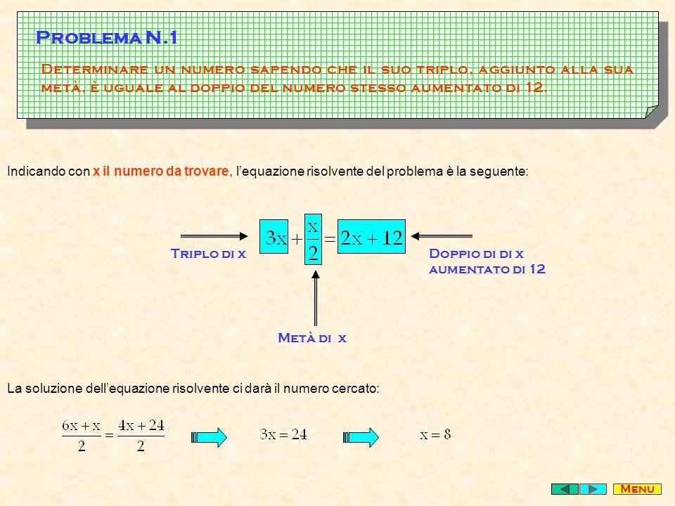 Determinare un numero sapendo che il suo triplo, aggiunto alla sua metà, è uguale al doppio del numero stesso aumentato di 12.