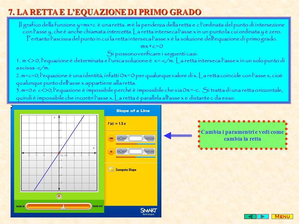 7.LA RETTA E LEQUAZIONE DI PRIMO GRADO Il grafico della funzione y=mx+c è una retta.