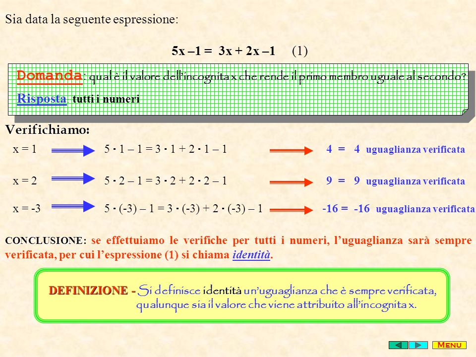 Sia data la seguente espressione: 5x –1 = 3x + 2x –1 (1) Domanda : qual è il valore dellincognita x che rende il primo membro uguale al secondo.