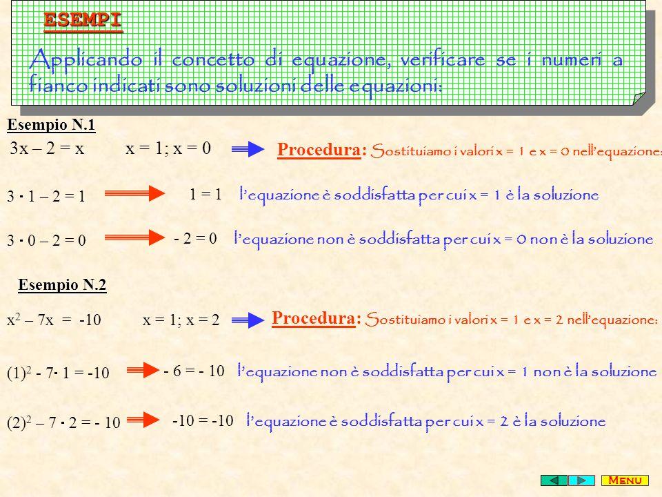 ESEMPI Applicando il concetto di equazione, verificare se i numeri a fianco indicati sono soluzioni delle equazioni: 3x – 2 = x x = 1; x = 0 x 2 – 7x = -10 x = 1; x = 2 Procedura: Sostituiamo i valori x = 1 e x = 0 nellequazione: 3 1 – 2 = 1 1 = 1 lequazione è soddisfatta per cui x = 1 è la soluzione 3 0 – 2 = 0 - 2 = 0 lequazione non è soddisfatta per cui x = 0 non è la soluzione Procedura: Sostituiamo i valori x = 1 e x = 2 nellequazione: (1) 2 - 7 1 = -10 - 6 = - 10 lequazione non è soddisfatta per cui x = 1 non è la soluzione (2) 2 – 7 2 = - 10 -10 = -10 lequazione è soddisfatta per cui x = 2 è la soluzione Esempio N.1 Esempio N.2 Menu