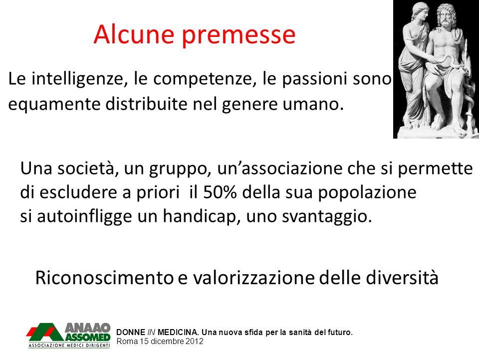 DONNE IN MEDICINA. Una nuova sfida per la sanità del futuro. Roma 15 dicembre 2012 Alcune premesse Le intelligenze, le competenze, le passioni sono eq