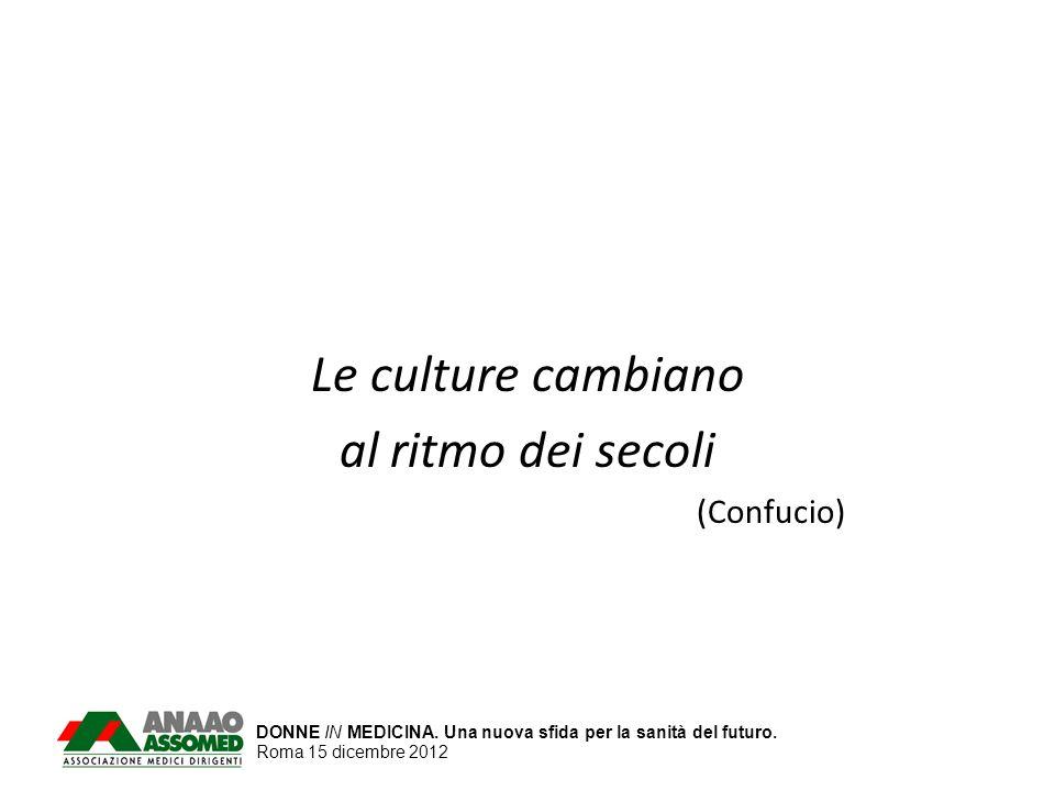 DONNE IN MEDICINA. Una nuova sfida per la sanità del futuro. Roma 15 dicembre 2012 Le culture cambiano al ritmo dei secoli (Confucio)