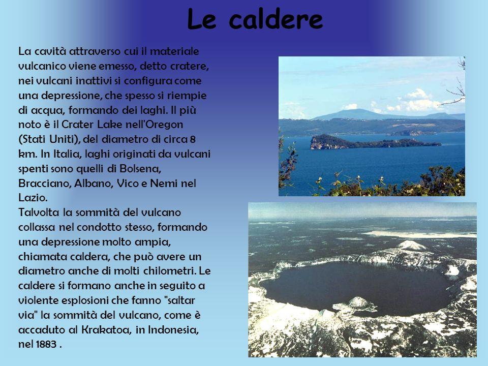 Le caldere La cavità attraverso cui il materiale vulcanico viene emesso, detto cratere, nei vulcani inattivi si configura come una depressione, che sp