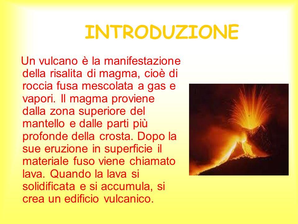 INTRODUZIONE Un vulcano è la manifestazione della risalita di magma, cioè di roccia fusa mescolata a gas e vapori. Il magma proviene dalla zona superi