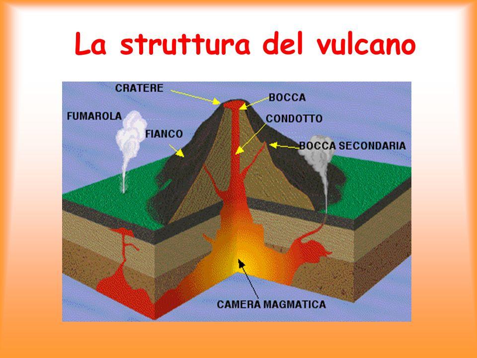 -Il CRATERE è lestremità aperta in superficie del condotto vulcanico -Il CONO VULCANICO è formato da strati di lava solidificata -Il CAMINO VULCANICO mette in comunicazione ledificio esterno con larea di alimentazione - La CAMERA MAGMATICA situata tra 2 e 10 km di profondità dove il materiale più caldo e meno denso risale; invece quello più freddo e più denso scende.