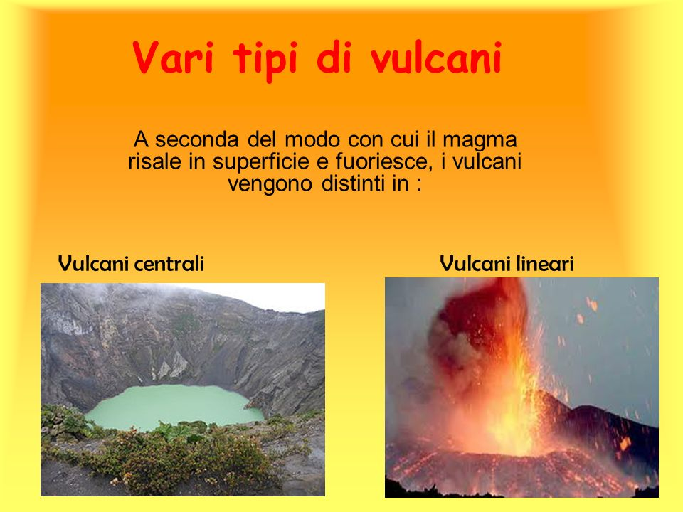 Vari tipi di vulcani A seconda del modo con cui il magma risale in superficie e fuoriesce, i vulcani vengono distinti in : Vulcani centraliVulcani lin